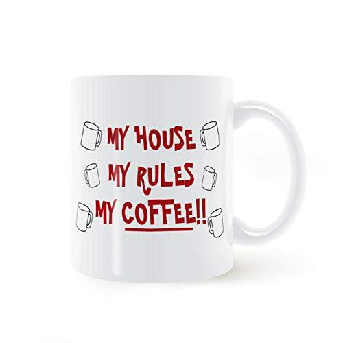LongBin My House My Rules Mi Taza De Café O Té Taza De Cerámica Regalos 11Oz-White_301-400Ml