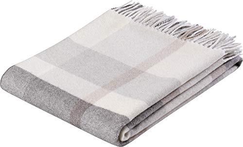 Biederlack Decke Sofaüberwurf Plaid Wolle Natur 130 x 170 cm
