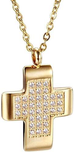 NC66 Collar con Colgante, Collar con Dije Flotante para Pareja, Colgante de Diamantes de imitación con Cruz Brillante, Colgante de Color Dorado para Hacer Joyas