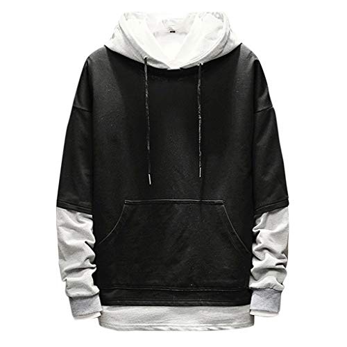 NIUQ Men's Casual Fashion Patchwork Hoodie Long Sleeves Sweatershirt Tops Black