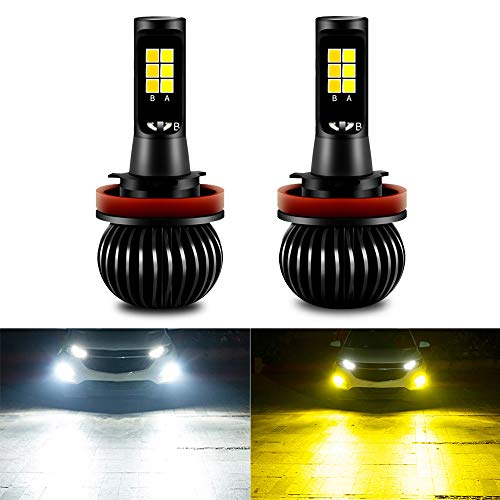 CIIHON H11 H8 H9 LED Fog Light Bulb 3030SMD 35W Lights Bulbs Not Headlight 1900LM Dual Color 6000K White 3000K Yellow DRL Replacement Pack of 2
