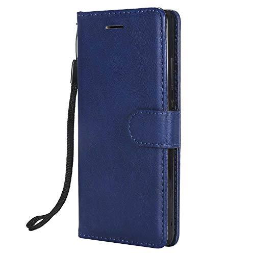 DENDICO Cover Huawei P8 Lite 2015/2016, Premium Portafoglio PU Custodia in Pelle, Flip Libro TPU Bumper Caso per Huawei P8 Lite 2015/2016 - Blu Navy