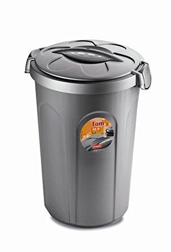Kreher XL Tierfuttertonne, Futtertonne aus lebensmittelechtem Kunststoff (PP) mit Fassungsvermögen von ca. 46 Liter. Formschön, in Grau. Maße BxTxH in cm: 44,5 x 40 x 61 cm