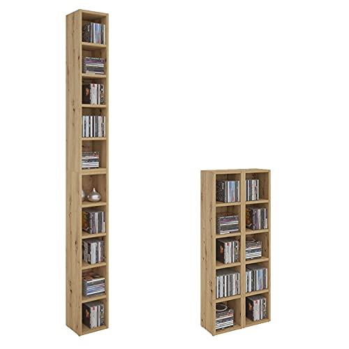 CARO-Möbel CD DVD Regal Ständer Aufbewahrung Chart, in Asteiche mit 10 Fächern für bis zu 160 CDs, 20x186,5 cm (Breite x Höhe)