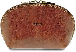 GIUDI ® - Portafoglio in pelle vacchetta, vera pelle, astuccio in pelle, Made in Italy (Marrone)