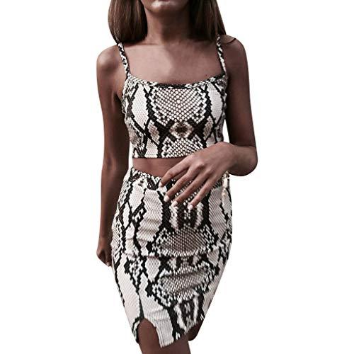 Allegorly Mode Frauen Snake Print ärmellose Crop Camis Gabel Minirock Anzüge Ärmelloser Kurznabel-Leibchenweste mit Schlangenmuster und Geteiltem Rock