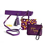 LSU Tigers Clear Handbag/Purse and Reversible Sequined Wristlet Combo with Vegan Leather Trim and...