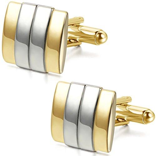JewelryWe Legierung Manschettenknöpfe Gold Silber Streifen Gestreift Hemd Business Hochzeit Wedding 1 Paar Set Herren