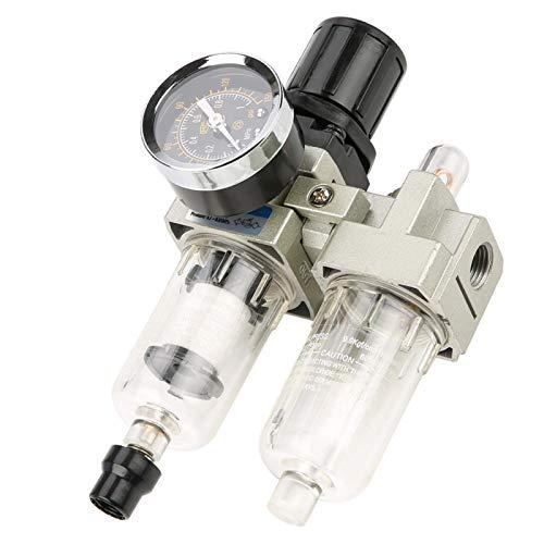 LANTRO JS - Regulador de filtro de aire comprimido G1/4 500L/min, regulador de presión de filtro de unidad de tratamiento de gas de fuente de aire con manómetro