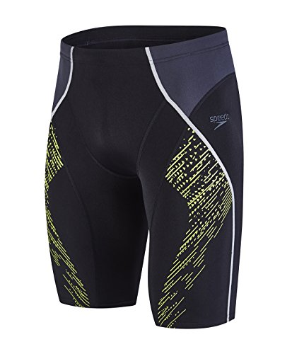 Speedo Fit Panel Jammer Bañador de Competición Largo, Negro (Black/Oxid Grey/Lime Punch), 34