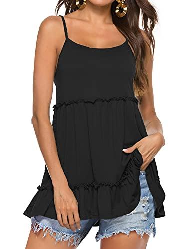 Tunic Tanks for Women Casual Summer Shirts Empire Waist Sleeveless Tops Black XL