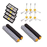 QiKun-Home Kits de Piezas de Repuesto para iRobot para Roomba Serie 800 900 Accesorios para aspiradoras Cepillos extractores Filtros Cepillos Laterales Negro y Gris