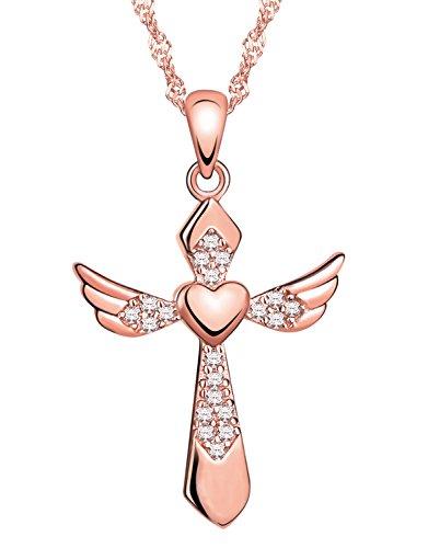 Yumilok Roségold 925 Sterling Silber Zirkonia Herz Engelsflügel Kreuz Anhänger Halskette Kette mit Anhänger Kreuzkette für Damen Mädchen