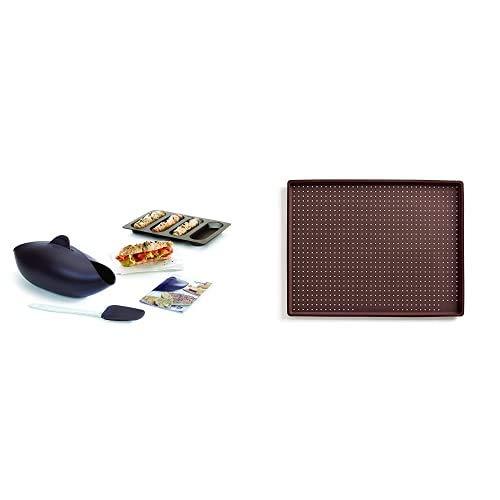 Lékué Kit para Hacer Pan, Silicona, marrón, 30 x 25 x 15 cm + Tapete de Silicona para Pizza, Castanho, Centimeters