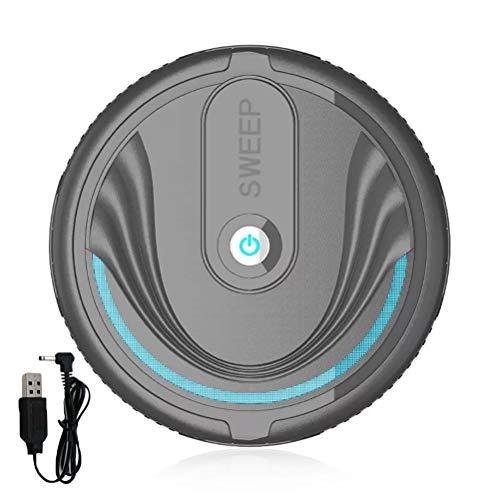 Kenyaw Saugroboter, Automatischer Staubsauger Roboter, Borstenbürste Für Kurzflorigen Teppich, USB Wiederaufladbar(Schwarz/Aufladen)