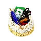 Vektenxi Miniaturen Sewing Kit Korb Schere Handarbeiten Dekor Display für Puppenhaus stilvoll