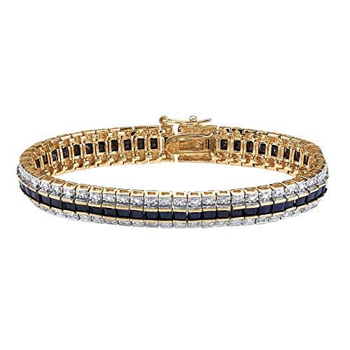 Palm Beach Jewelry 18K Yellow Gold Plated Genuine Diamond Accent and Princess Cut Midnight Blue Genuine Sapphire Tennis Bracelet, 7 inch