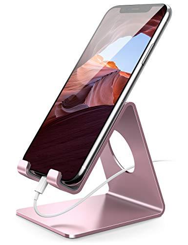 Supporto Telefono, Lamicall Dock Telefono - Universale Supporto Dock per iPhone 12 Mini, 12 Pro Max, 11 Pro Xs Max XR X 8 7 6 6S Plus SE 5S, HUAWEI, Samsung S10 S9 S8, Scrivania, Smartphone - Oro Rosa