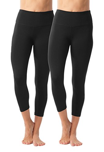 90 Degree By Reflex - High Waist Tummy Control Shapewear - Power Flex Capri - Black 2 Pack - Small