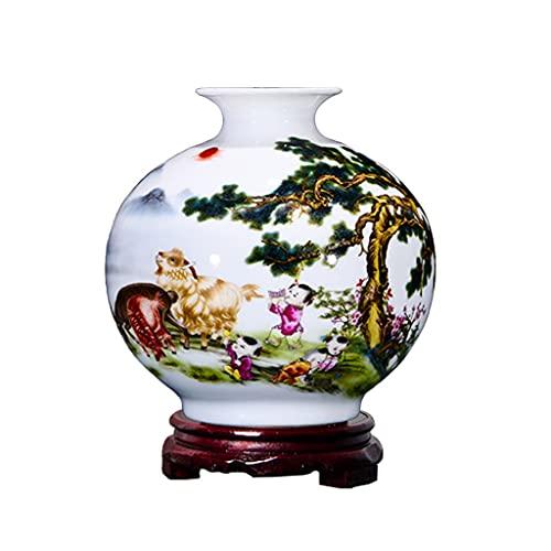 WLN Pintar a mano Jarrón de cerámica Florero decorativo Florero Planta Contenedor Para Decoración de Oficina en el Hogar Regalo Para Boda Fiesta de Navidad 16cm/6.2in
