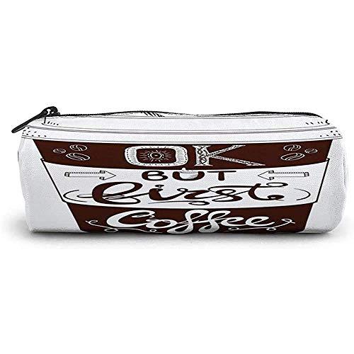 RGFDFi Organizer Pencil Case, aber erster Kaffee, handgeschriebene Briefe im Vintage-Stil auf einem Pappbecher und skizzenhaft, Siegel braun und weiß