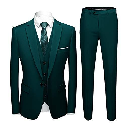MY'S Herren 3-teiliges Slim Fit Anzug, Ein-Knopf-Jacke, Blazer, Weste, Hose und Krawatte - Grün - S