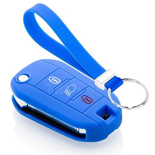 TBU car Funda Carcasa Llave Compatible con Peugeot - Funda de Silicona - Cover de Llave Coche - Azul