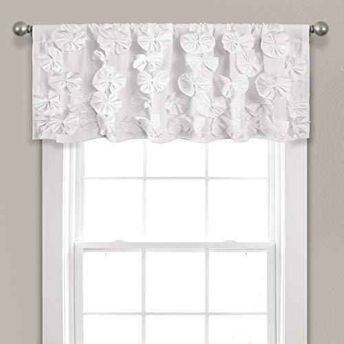 "Lush Decor, White Riley Valance Textured Bow Tie Window Kitchen Curtain (Single), 18"" x 52 L"