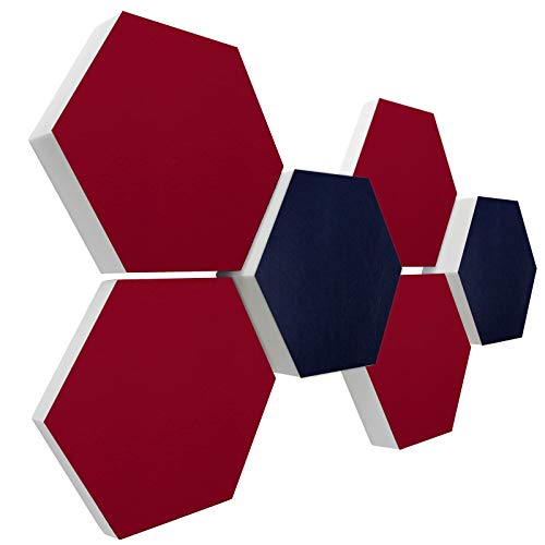 Basotect G+ Schallabsorber 3D-Set < 6 Elemente Ø30cm > Diverse Farben (Nachtblau + Bordeaux)