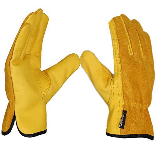 SAWANS Leder-Arbeitshandschuhe, Gartenhandschuhe, dornensicher, robust, für Herren und Damen, atmungsaktive und flexible Konstruktion, Größe M