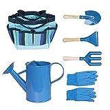 TAIPPAN 6 Pz attrezzi giardinaggio bambini, kit giardinaggio bambini, attrezzi da giardinaggio per bambini con borsa degli attrezzi, rastrello, cazzuola, forchetta, guanti, annaffiatoio