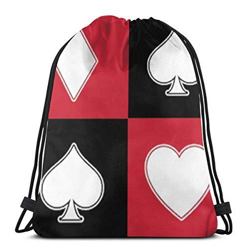 Affordable shop Poker Playing Card Pattern 3D Print Drawstring Backpack Rucksack Shoulder Bags Gym Bag for Adult 16.9