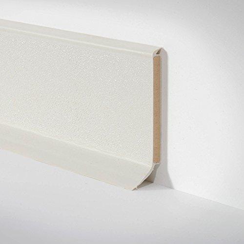 Kunststoff-Leiste Sockelleiste Fussleiste für PVC und Designbelag hell grau, 255cm x 60mm