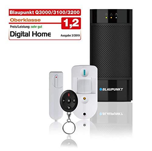 Blaupunkt Q3200 Smarthome Funk-Alarmanlage mit Smartphone App, Sicherheitssystem Starter Set mit IP-Alarmzentrale, Funk-Fernbedienung, Tür-/Fenstersensor und Bewegungsmelder mit Fotoüberwachung