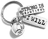 Accesorios hechos a mano Strong es hermoso llavero, llavero de Kettlebell, amuleto de ejercicio, regalo de fitness, deportes, personalizado