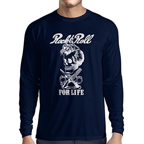 lepni.me Camiseta de Manga Larga para Hombre Rock and Roll For Life - 1960s, 1970s, 1980s - Banda de Rock Vintage - Musicalmente - Vestimenta de Concierto (Small Azul Multicolor)