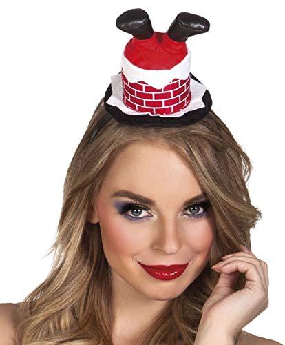 Boland 13423 haarband Santa in de open haard, rood/wit