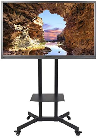 Mobile TV Stand TV Cart with Height Adjustable Shelf Rolling Casters and Flat Screen Mount for product image