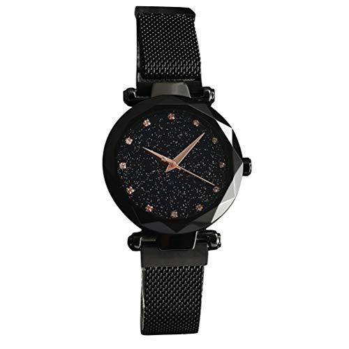 Magnet Uhr Damen Quarzuhr Mode Sternenhimmel Himmel Magnetisch Mesh-Gurt Schau Zu Strass Freizeit Netzwerkkette Glasspiegel Mädchen Uhr (SCHWARZ)