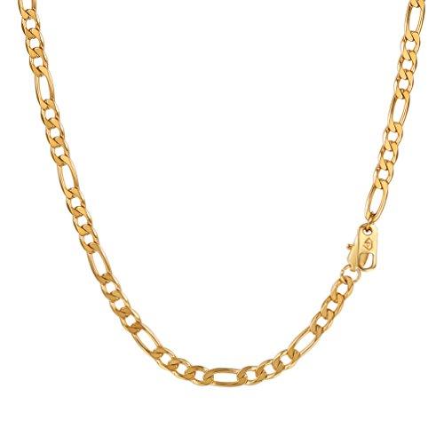 PROSTEEL Collar para Hombre Cadena Fígaro 7 Longitud Opcional Dorado/Negro/Plateado, Ancho 4mm/6mm/9mm/13mm Opcional con Caja de Regalo