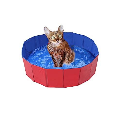 Faltbar Hundepool, Hund Schwimmbad Umweltfreundliche PVC rutschfest Planschbecken mit Ablassventil Sommer Schwimmbad Schwimmbecken Für Hund Katze (50*8cm(19.68*3.15'' ))