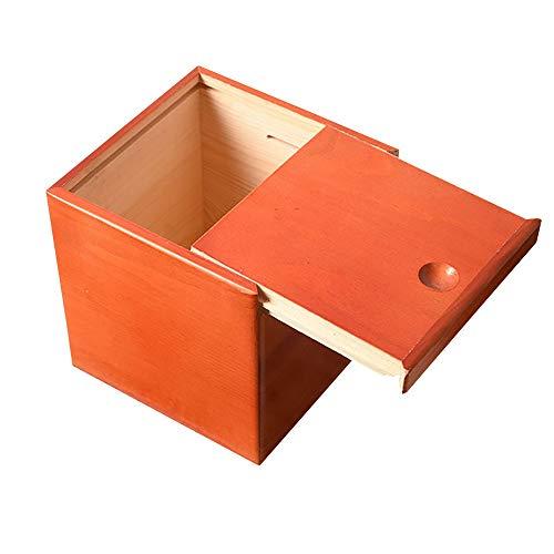 ZAKRLYB Anti-caída y duradera Decoración de escritorio Decoración de escritorio de madera cuadrada de madera Cambio de banco para niños adulto Adornos hechos a mano Caja de tesoros Adecuado para escri