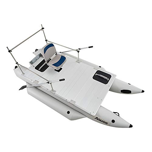 AQUOS Heavy-Duty 2019 New Thermobonding 0.9mm Thickness PVC 12.5ft Inflatable Pontoon Boat with Guard Bar and Folding Seat for Bass Fishing, Lure Fishing, Aluminum Floor Board