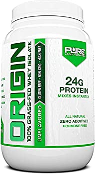 Pure Label Nutrition 100% Grass-Fed Whey Protein Isolate 2lb Unflavored No Fat No Lactose Micro-Filtered Cold Processed GMO Free rBGH Free Soy Free Gluten Free Zero Carbs and No Sugar Added