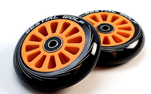 Bestial Wolf Pilot XX2 Pack mit zwei Original-Rädern, Durchmesser 100 mm, für Scooter Freestyle (Orange)