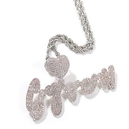 Collar con nombre personalizado 8 Collar alfabeto personalizado para las mujeres Cadena de tenis personalizada Collar de iniciales A-Z de diamante simulado