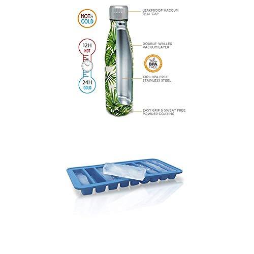 NERTHUS Termo Doble Pared para frios y Calientes Diseño Palmeras de Acero Inoxidable 500...