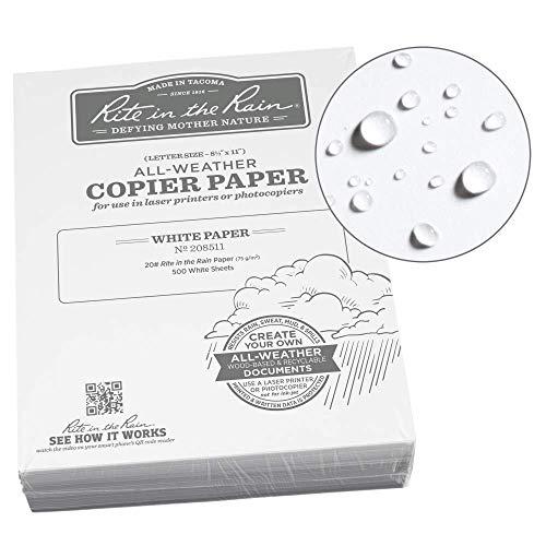 "Rite in the Rain All-Weather Bulk Copier Paper, 8 1/2"" x 11"", 20# White, 500 Sheet Pack (No. 208511)"