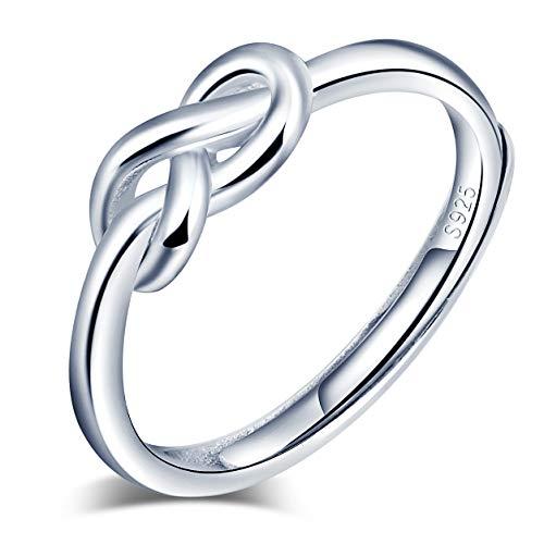 Anillo abierto de plata de ley 925 para mujer, con símbolo de infinito, plata, anillo de boda, tamaño ajustable, Anillo de compromiso