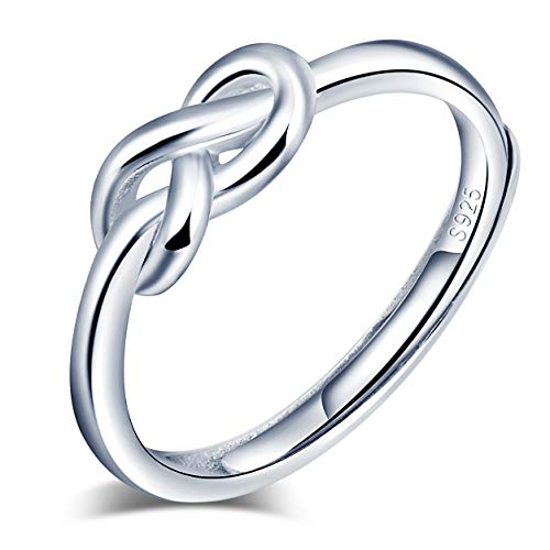 Anelli aperto da donna in argento Sterling 925, anello con simbolo dell'infinito, Anello di fidanzamento di nozze, misura regolabile, Regalo di Natale o di compleanno
